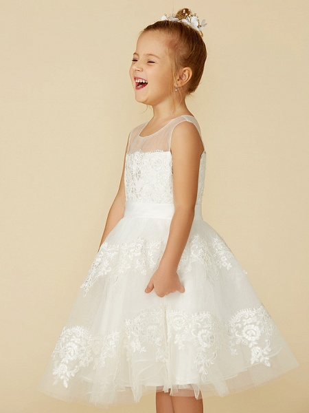 A-Line Tea Length Wedding / First Communion Flower Girl Dresses - Lace Sleeveless Jewel Neck With Lace / Sash / Ribbon_9