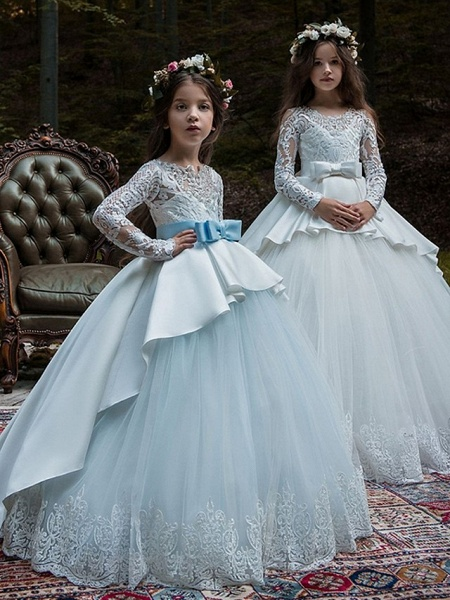 Ball Gown Court Train Party / Birthday Flower Girl Dresses - Poly Long Sleeve Jewel Neck With Lace / Bow(S) / Appliques_1