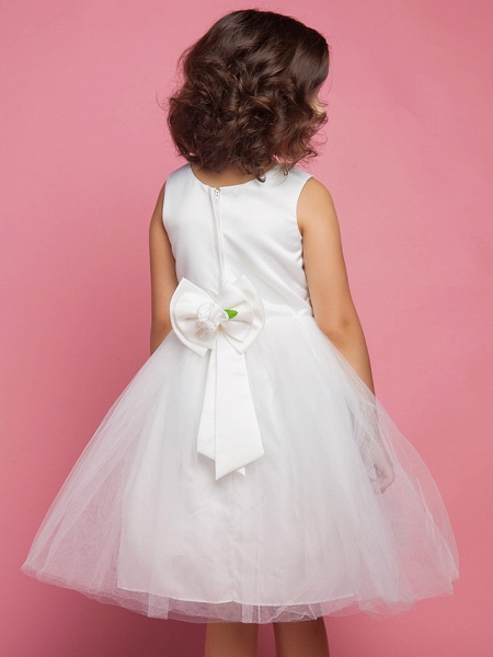 Princess / Ball Gown / A-Line Knee Length First Communion / Wedding Party Lace / Organza / Satin Sleeveless Scoop Neck With Bow(S) / Draping / Flower / Spring / Summer / Fall_5