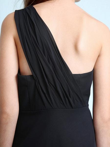 Sheath / Column One Shoulder Floor Length Chiffon Junior Bridesmaid Dress With Side Draping / Natural_10
