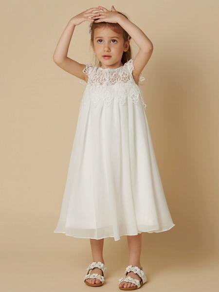 Sheath / Column Knee Length Wedding / First Communion / Holiday Flower Girl Dresses - Chiffon / Lace Short Sleeve Scoop Neck With Lace_4
