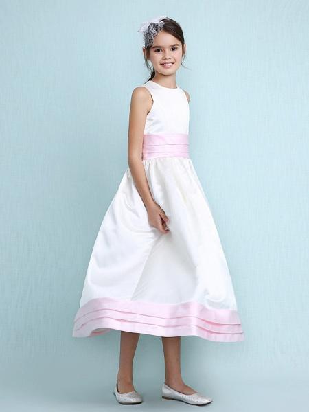 Princess / A-Line Jewel Neck Knee Length Satin Junior Bridesmaid Dress With Sash / Ribbon / Ruched / Ruffles / Spring / Summer / Fall / Winter / Wedding Party_3