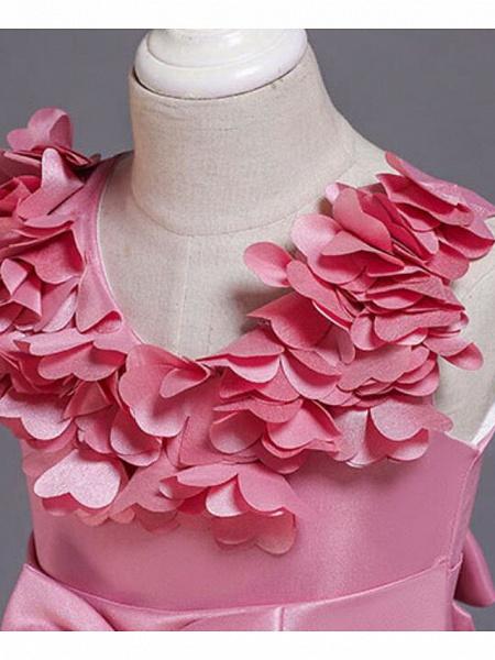 Princess Knee Length Wedding / Party / Pageant Flower Girl Dresses - Satin / Cotton Sleeveless Jewel Neck With Petal / Belt / Bow(S)_11