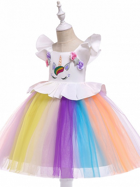 Princess Midi Party / Birthday / Pageant Flower Girl Dresses - Tulle Sleeveless Jewel Neck With Petal / Ruffles / Pattern / Print_3
