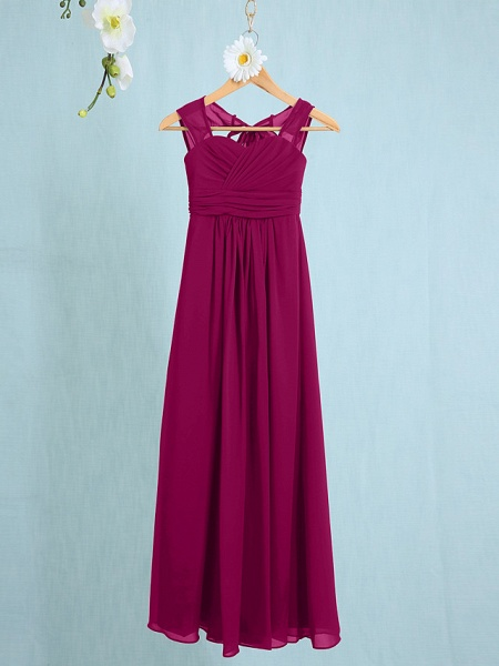 Sheath / Column Straps Ankle Length Chiffon Junior Bridesmaid Dress With Ruched / Natural_38