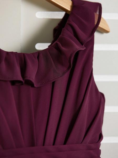 A-Line Jewel Neck Floor Length Chiffon Junior Bridesmaid Dress With Ruffles / Ruching_6