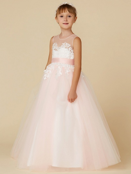 Princess Floor Length Wedding / Birthday / Pageant Flower Girl Dresses - Lace / Tulle Sleeveless Jewel Neck With Sash / Ribbon / Appliques_4