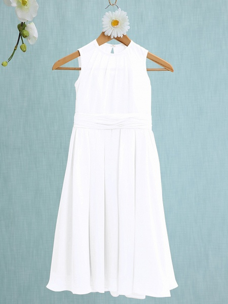 Sheath / Column Jewel Neck Knee Length Chiffon Junior Bridesmaid Dress With Ruched / Natural_17