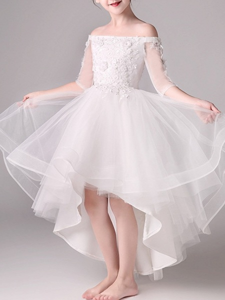 A-Line Asymmetrical Pageant Flower Girl Dresses - Tulle Half Sleeve Off Shoulder With Beading / Appliques_3