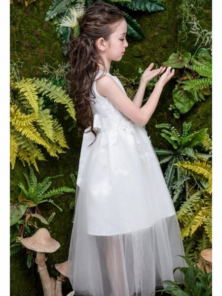 A-Line Ankle Length Wedding Flower Girl Dresses - Tulle Sleeveless Jewel Neck With Bow(S) / Tier / Solid_3