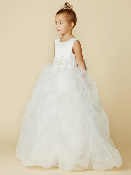Ball Gown Floor Length Wedding / First Communion Flower Girl Dresses - Organza / Satin Sleeveless Jewel Neck With Sash / Ribbon / Bow(S) / Flower_4