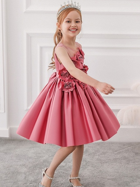 Princess / Ball Gown Knee Length Wedding / Party Flower Girl Dresses - Tulle Sleeveless Jewel Neck With Bow(S) / Pleats / Flower_3