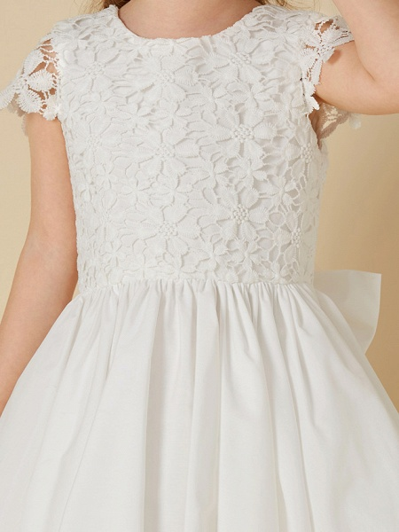 A-Line Knee Length Wedding / First Communion Flower Girl Dresses - Lace / Cotton Short Sleeve Scoop Neck With Bow(S)_6