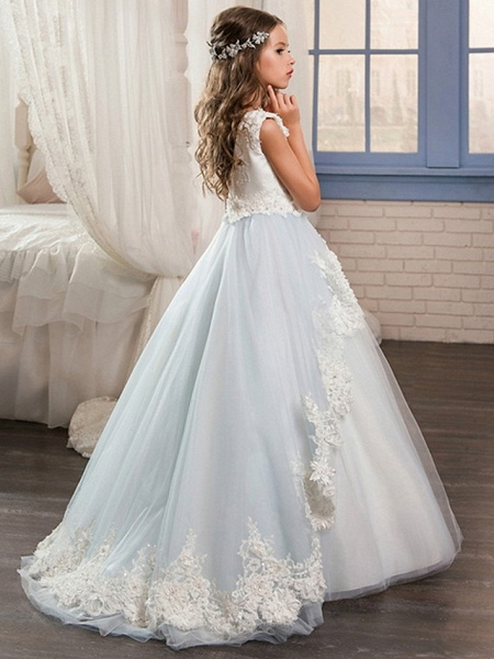 Ball Gown Floor Length Wedding / Event / Party Flower Girl Dresses - Poly Sleeveless Jewel Neck With Lace / Appliques_2