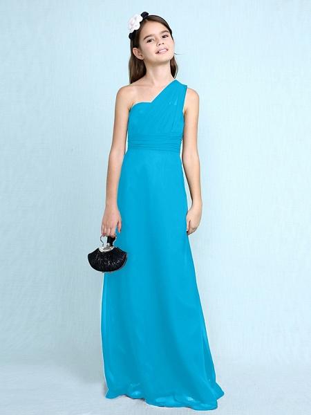 Sheath / Column One Shoulder Floor Length Chiffon Junior Bridesmaid Dress With Side Draping / Natural_35