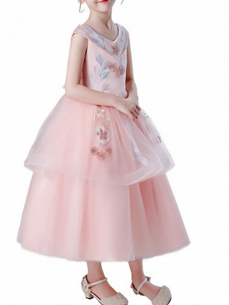 A-Line Ankle Length Pageant Flower Girl Dresses - Tulle Sleeveless V Neck With Bow(S) / Tier / Embroidery_4