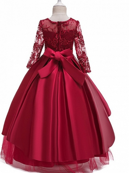 Princess Round Floor Length Cotton Junior Bridesmaid Dress With Bow(S) / Pleats / Crystals_7