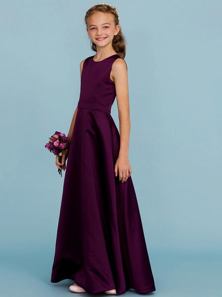 A-Line Jewel Neck Floor Length Satin Junior Bridesmaid Dress With Sash / Ribbon / Wedding Party / Open Back_3