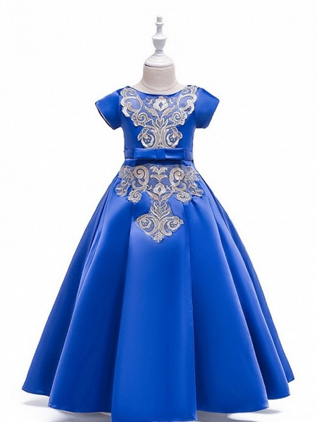 A-Line Round Floor Length Cotton Junior Bridesmaid Dress With Bow(S) / Appliques_1