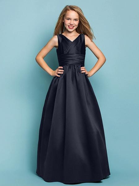 Princess / A-Line V Neck Floor Length Satin Junior Bridesmaid Dress With Sash / Ribbon / Criss Cross / Spring / Summer / Fall / Apple / Hourglass_35