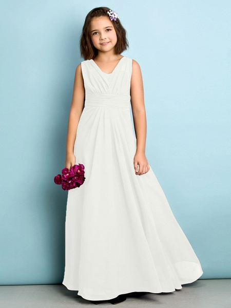 A-Line V Neck Floor Length Chiffon Junior Bridesmaid Dress With Criss Cross / Natural / Mini Me_19