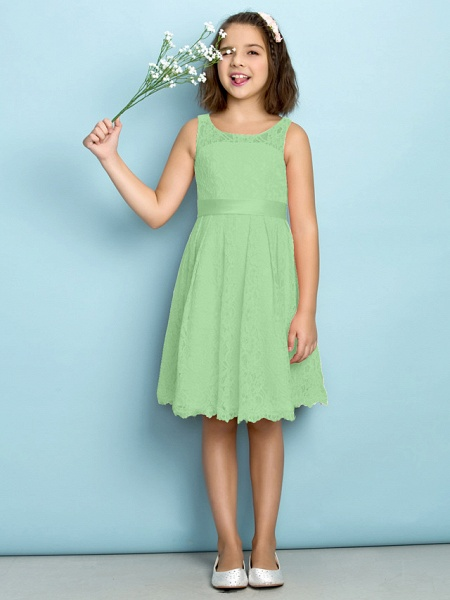 A-Line Scoop Neck Knee Length All Over Floral Lace Junior Bridesmaid Dress With Lace / Natural / Mini Me_28