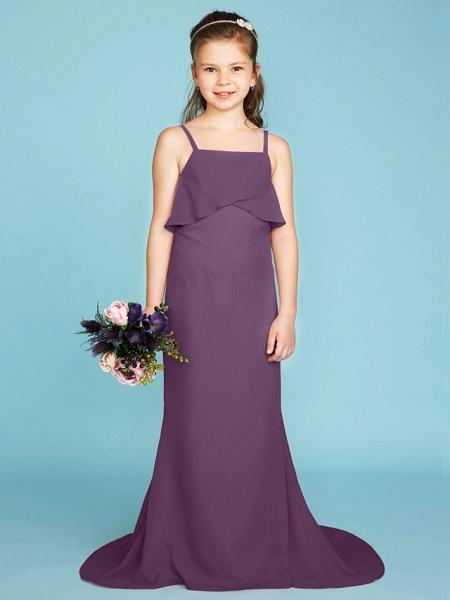 Sheath / Column Spaghetti Strap Sweep / Brush Train Chiffon Junior Bridesmaid Dress With Tiered / Wedding Party / Open Back_30