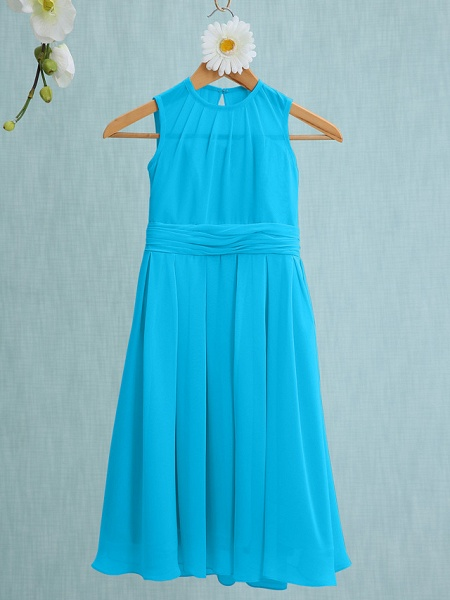 Sheath / Column Jewel Neck Knee Length Chiffon Junior Bridesmaid Dress With Ruched / Natural_30