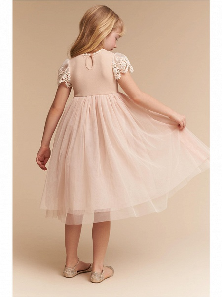 A-Line Knee Length Wedding / Party Flower Girl Dresses - Lace / Tulle Cap Sleeve Jewel Neck With Solid_2