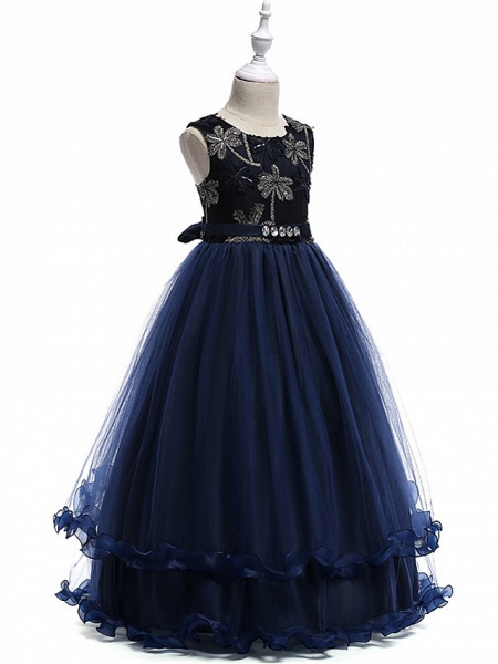 Princess Long Length Wedding / Party / Pageant Flower Girl Dresses - Lace / Tulle Sleeveless Jewel Neck With Crystals / Embroidery_5