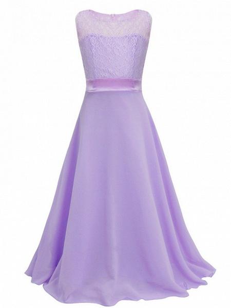 A-Line Floor Length Wedding / Party Flower Girl Dresses - Chiffon / Lace Sleeveless Jewel Neck With Sash / Ribbon_9