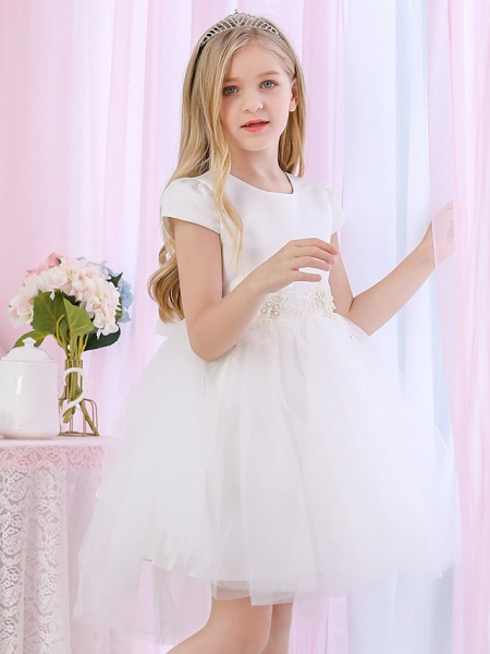 Princess / Ball Gown Medium Length Wedding / Event / Party Flower Girl Dresses - Satin / Tulle Cap Sleeve Jewel Neck With Beading / Appliques / Color Block_7