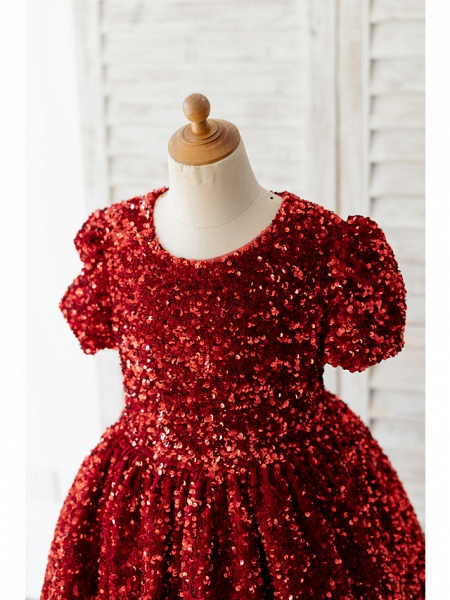 Ball Gown Knee Length Wedding / Birthday Flower Girl Dresses - Sequined Short Sleeve Jewel Neck With Petal / Paillette_3