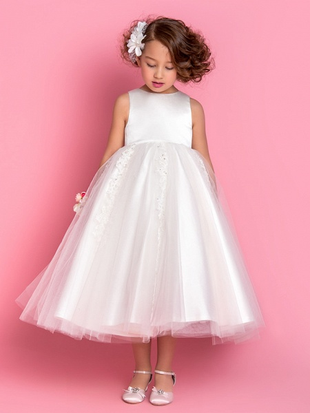 Princess / A-Line Tea Length Wedding / First Communion Flower Girl Dresses - Satin / Tulle Sleeveless Jewel Neck With Beading / Appliques / Spring / Summer / Fall / Winter_2