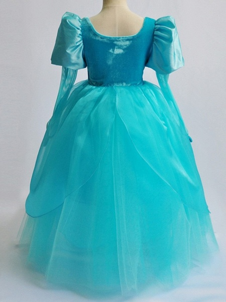 Ball Gown Floor Length Pageant Flower Girl Dresses - Polyester Long Sleeve Square Neck With Lace_4