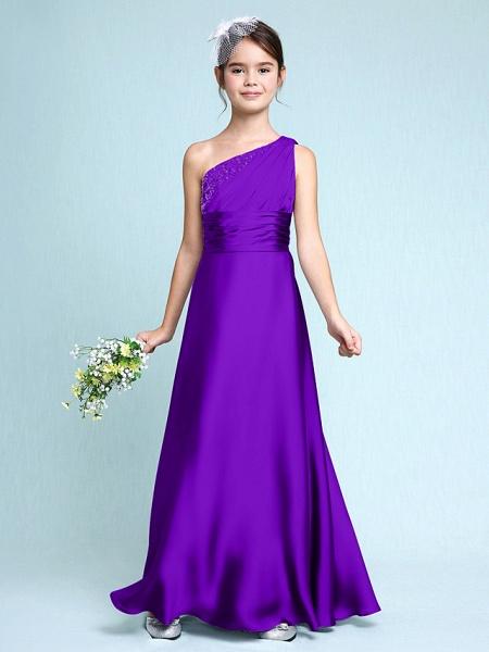 Sheath / Column One Shoulder Floor Length Chiffon Satin Junior Bridesmaid Dress With Ruched / Side Draping / Natural_38