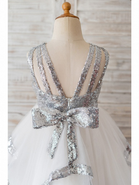 Ball Gown Knee Length Wedding / Birthday Flower Girl Dresses - Tulle / Sequined Sleeveless Jewel Neck With Bow(S)_4