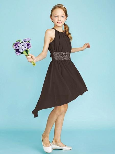 Sheath / Column Jewel Neck Asymmetrical Chiffon Junior Bridesmaid Dress With Sequin / Natural_38