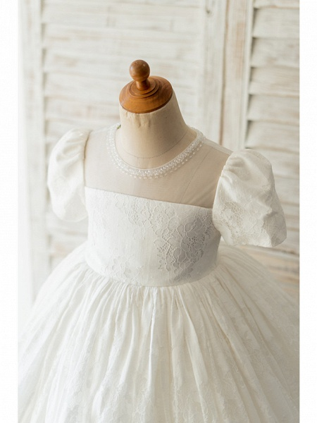 Ball Gown Knee Length Wedding / Birthday Flower Girl Dresses - Lace Short Sleeve Jewel Neck With Beading_3