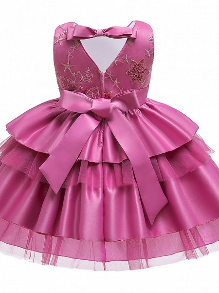 A-Line Knee Length Wedding / Birthday / Pageant Flower Girl Dresses - Cotton Blend Sleeveless Jewel Neck With Petal / Sash / Ribbon / Trim_7