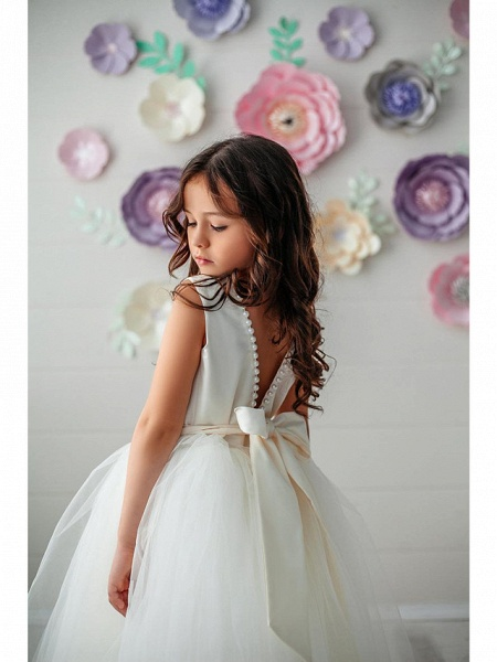 Princess / Ball Gown Floor Length Wedding / Party Flower Girl Dresses - Tulle Sleeveless Jewel Neck With Pleats / Solid_2