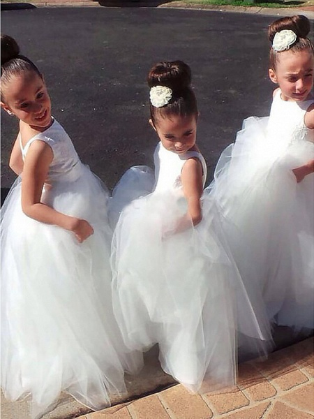 A-Line Floor Length Wedding / First Communion Flower Girl Dresses - Lace / Satin / Tulle Sleeveless Jewel Neck With Lace_1