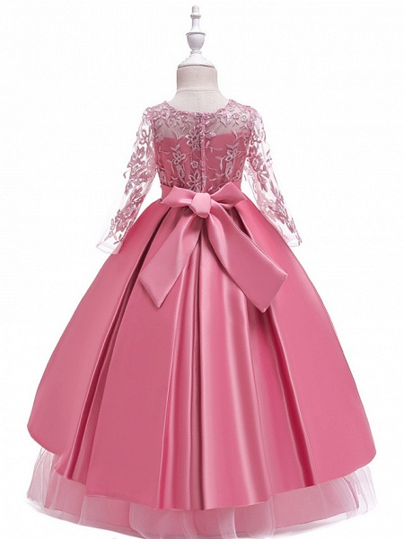 Ball Gown / A-Line Maxi Wedding / Formal Evening / Pageant Flower Girl Dresses - Cotton Blend / Lace 3/4 Length Sleeve Jewel Neck With Lace / Sash / Ribbon / Pleats_6