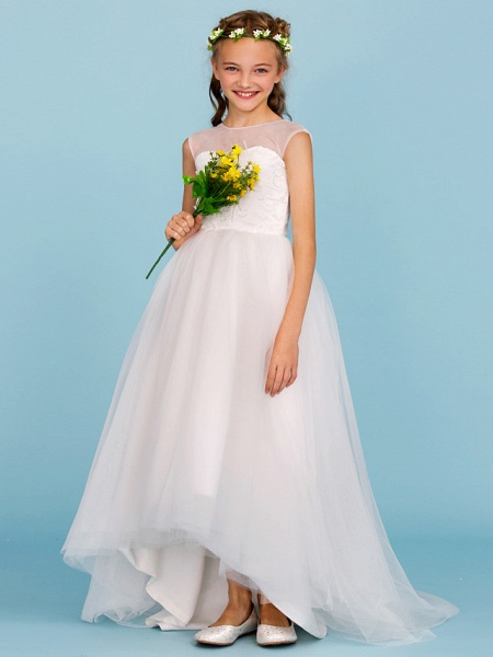Ball Gown Crew Neck Asymmetrical Tulle Junior Bridesmaid Dress With Beading / Wedding Party / Open Back_4