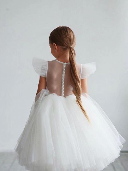Princess / Ball Gown Tea Length / Medium Length Wedding / Party Flower Girl Dresses - Tulle Short Sleeve Jewel Neck With Ruffles / Appliques_2