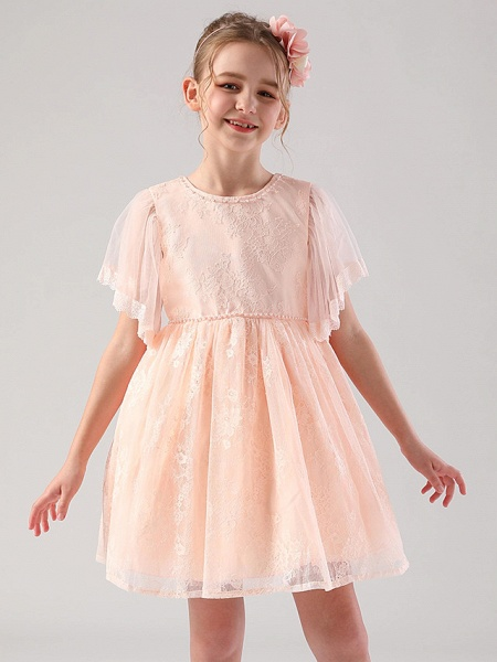 Princess / Ball Gown Medium Length Wedding / Event / Party Flower Girl Dresses - Lace / Tulle Half Sleeve Jewel Neck With Beading / Butterfly / Solid_2