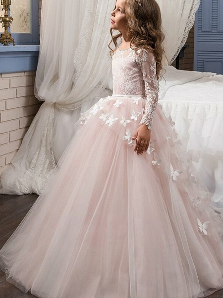 Ball Gown Sweep / Brush Train Party / First Communion / Birthday Flower Girl Dresses - Lace Long Sleeve Jewel Neck With Bow(S) / Appliques_1