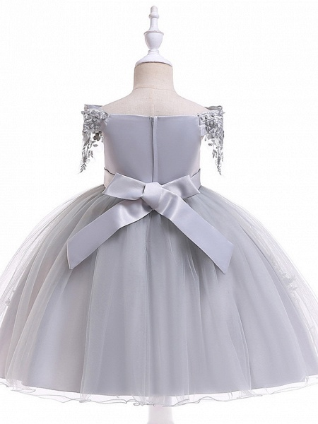 Princess Above Knee Wedding / Party / Pageant Flower Girl Dresses - Satin / Tulle Short Sleeve Off Shoulder With Lace / Beading / Appliques_12