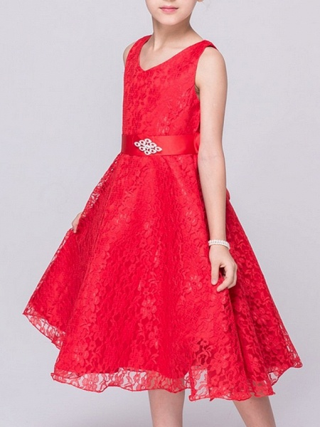 A-Line V Neck Knee Length Lace Junior Bridesmaid Dress With Sash / Ribbon_2