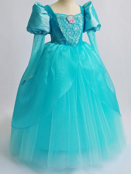 Ball Gown Floor Length Pageant Flower Girl Dresses - Polyester Long Sleeve Square Neck With Lace_3
